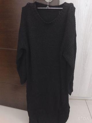 針織圓領長袖洋裝