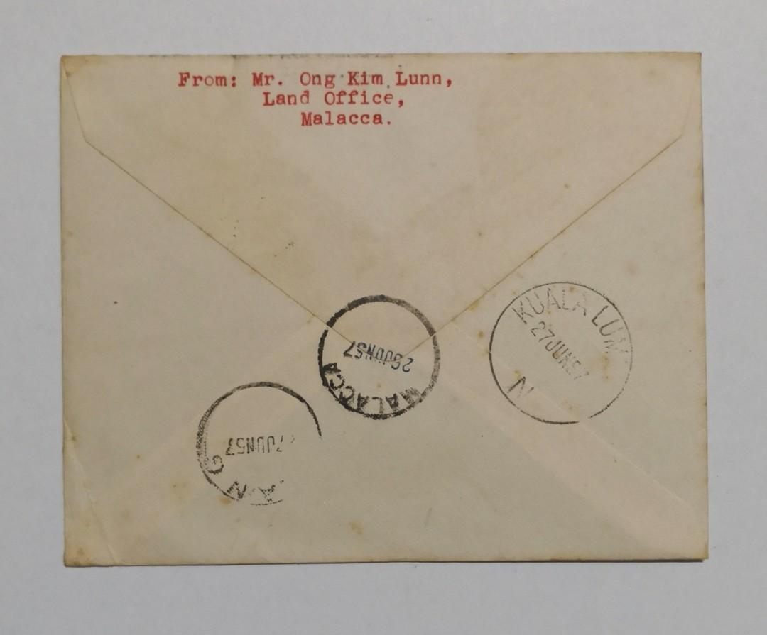 1957 Malaya - Malacca Stamps blk of 4 on cover