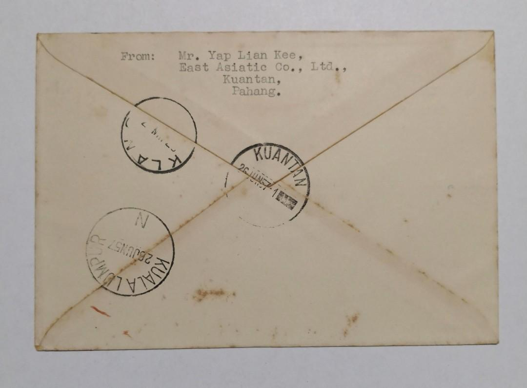 1957 Malaya-Pahang Stamps blk of 4 on cover