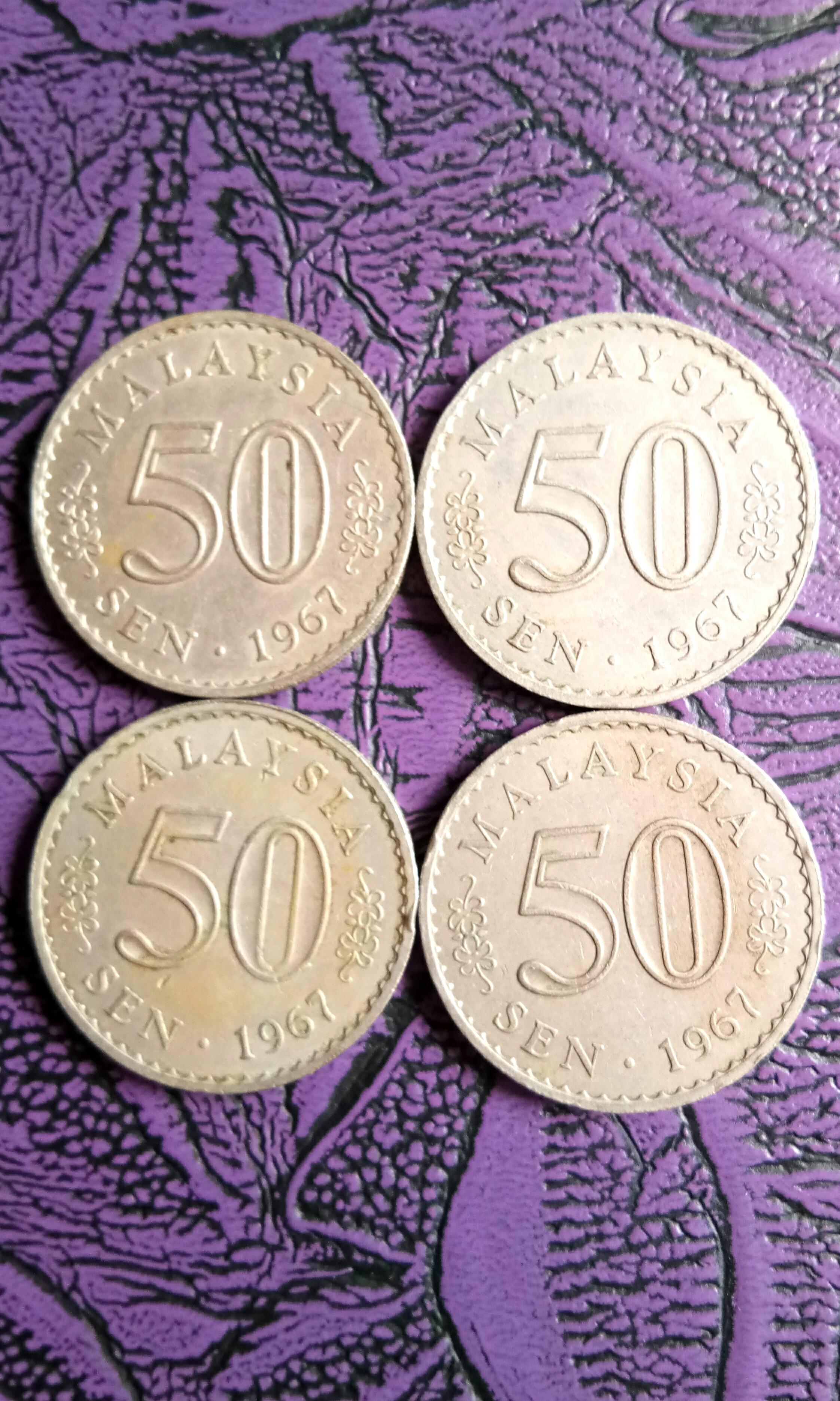 1967 Bank Negara Malaysia Parlimen Wang Syilling Lama 50 sen Currency 50¢ Old Coin Per Piece Selling RM 7