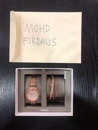 Fossil rose gold colour women's watch & bracelets