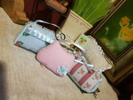 Three pretty Fragrance mini purses  for decorative x3