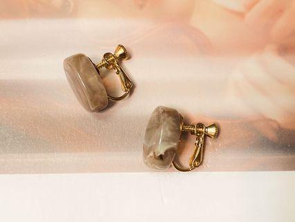 耳夾/莫蘭迪灰大理石紋耳環