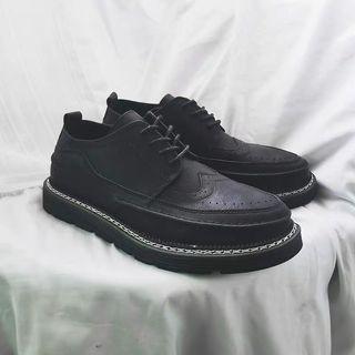 【 Gshop.】英倫風圓頭休閒黑色小皮鞋平底商務正裝布洛克男鞋