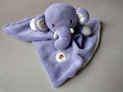美國【MyNatural】天然純棉安撫巾 - 粉紫小象
