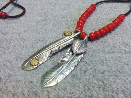 S925 Sterling Silver Native Indian Feather Pendant Necklace