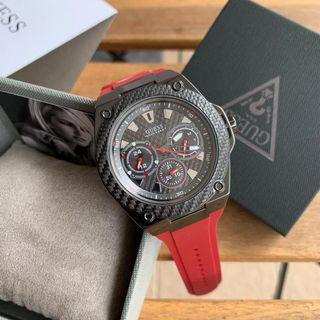 Deepavali Sale ❤️  Guess Legacy Watch Black Red Silicone W1049G6