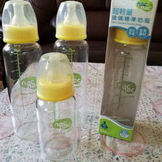 nac nac 超輕量玻璃標準奶瓶(240ml-3支、120ml-1支)