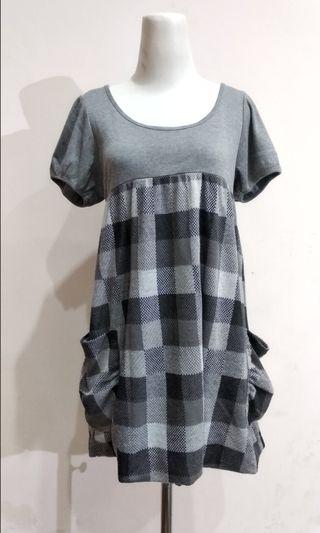 Grey Cotton Midi Dress Good Quality