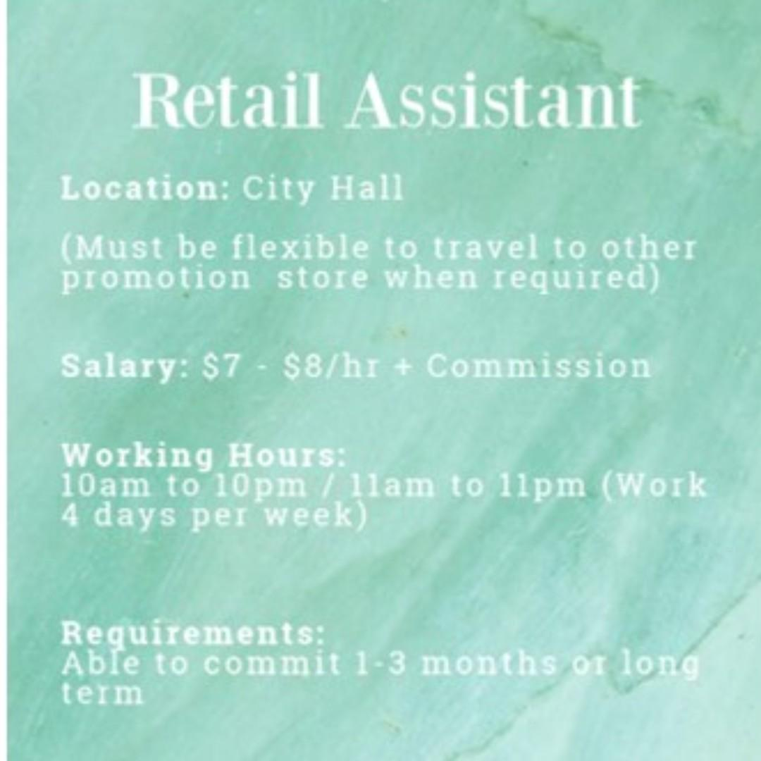 3 months/Long Term Part -Time Retail Assistants @City Hall