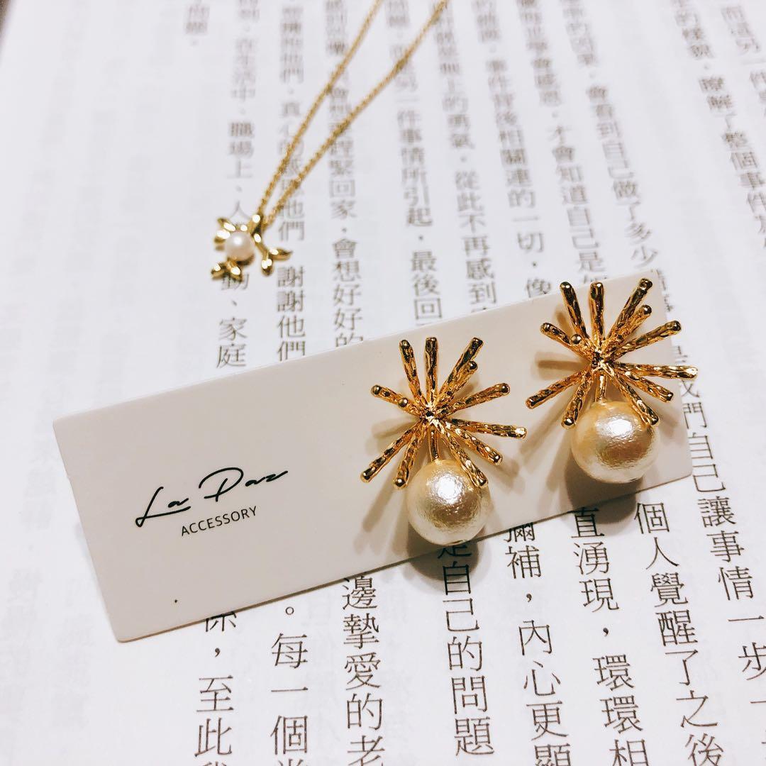 全新925銀針耳環 珍珠珊瑚