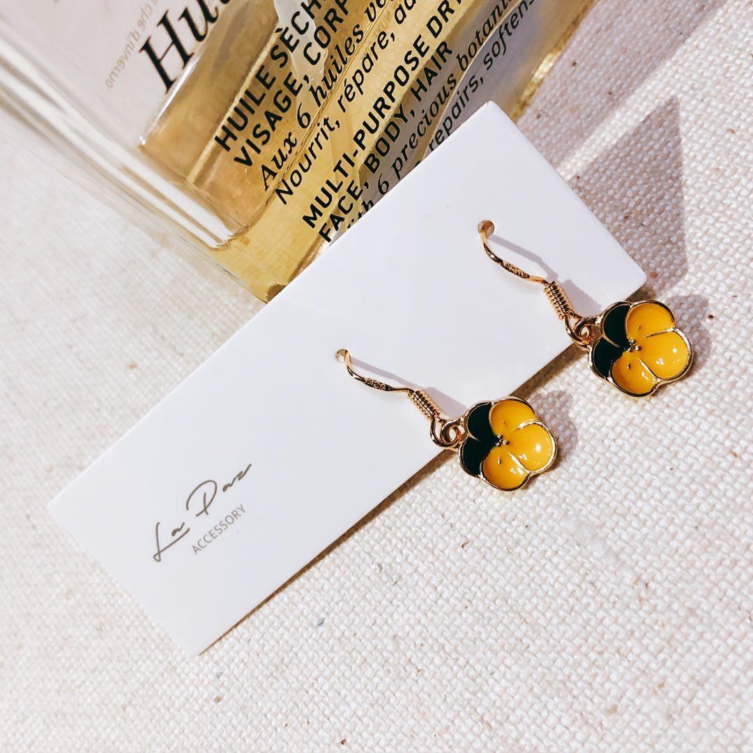 全新925純銀耳環 撞色蘭花