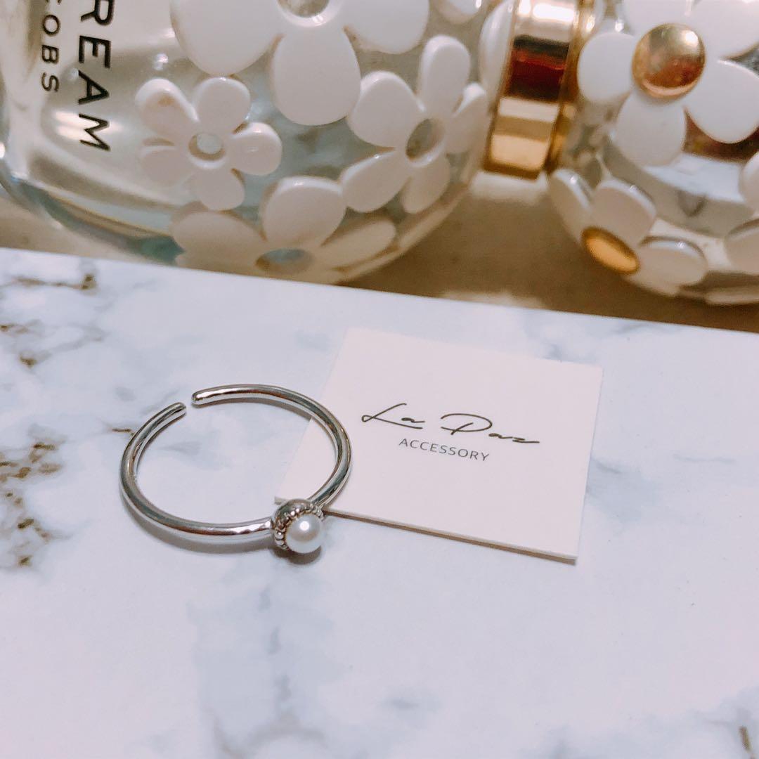 全新925純銀戒指 精緻古典氣質珍珠