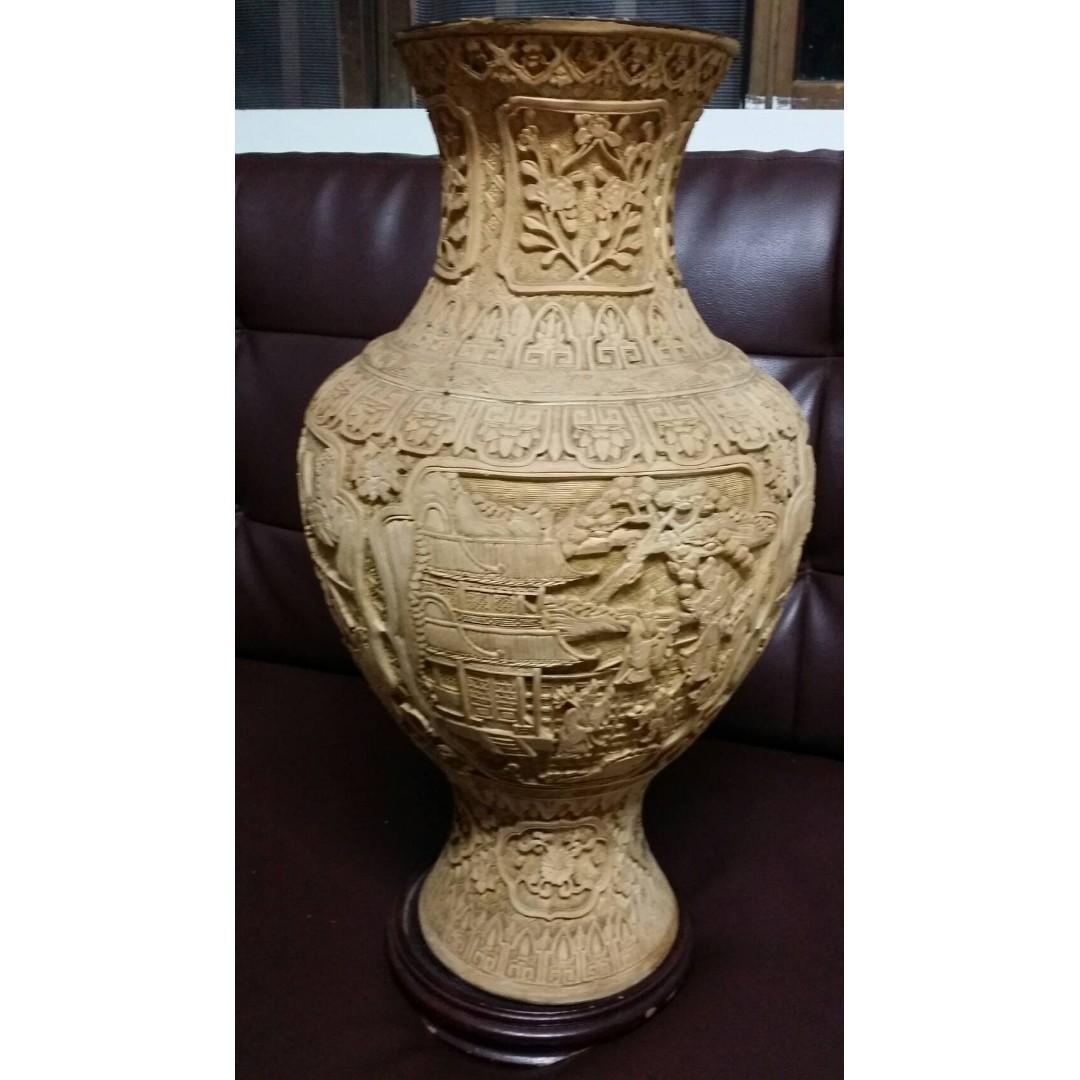 原胎巧雕大花瓶