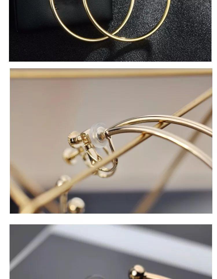 現貨秒發歐美超模個性鍍真金簡約誇張大圓環金屬圓圈耳圈耳環無耳洞