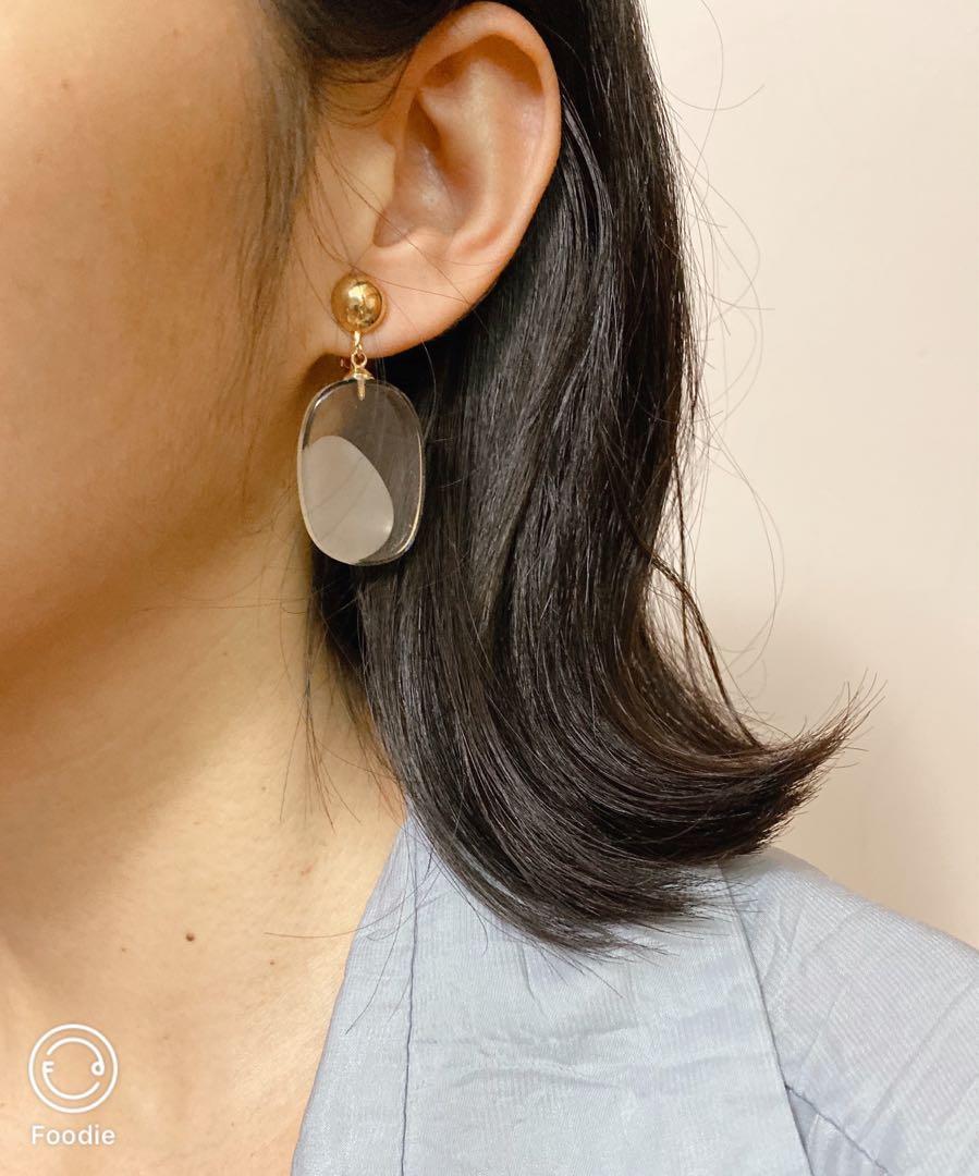 耳夾/壓克力透明橢圓耳環
