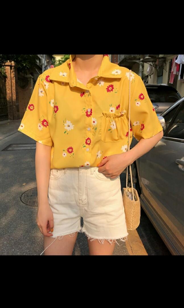 韓版花花襯衫