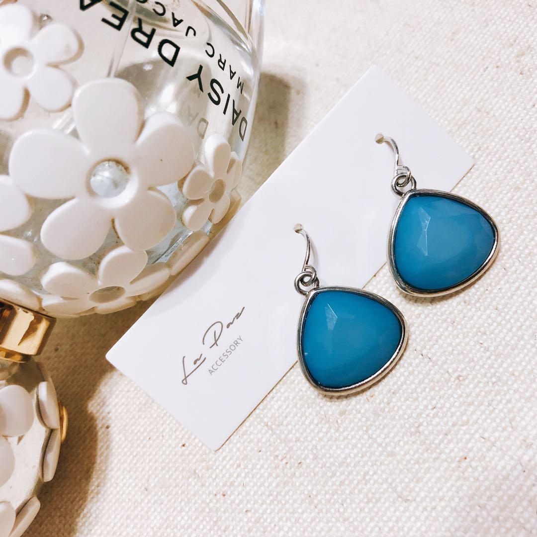 全新不鏽鋼針耳環 藍色宮廷風