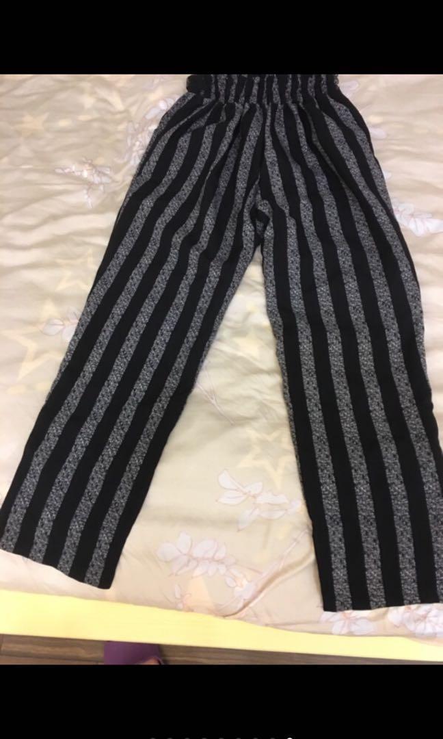 絲質涼感直條紋吊帶長褲 二手九成新以上