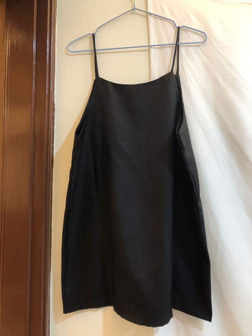 全新 吊帶 洋裝 短洋 黑