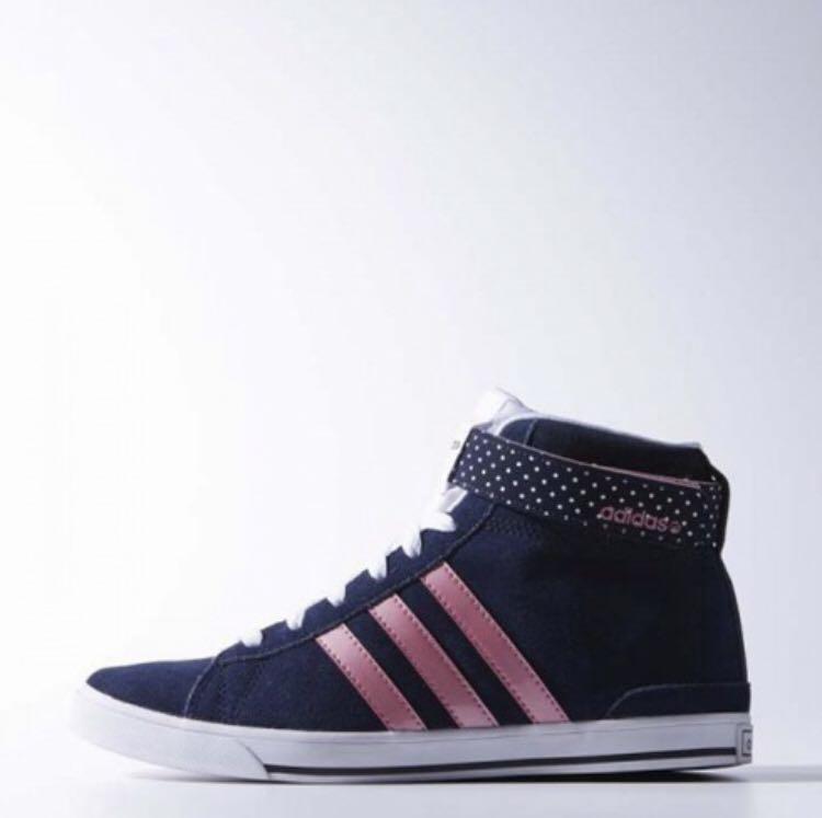 Adidas Neo Black suede leather and pink three stripe high top sneakers
