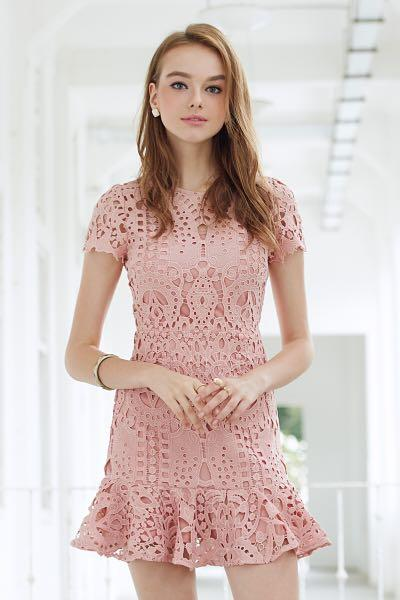 Alivia Crochet Lace Trumpet Dress