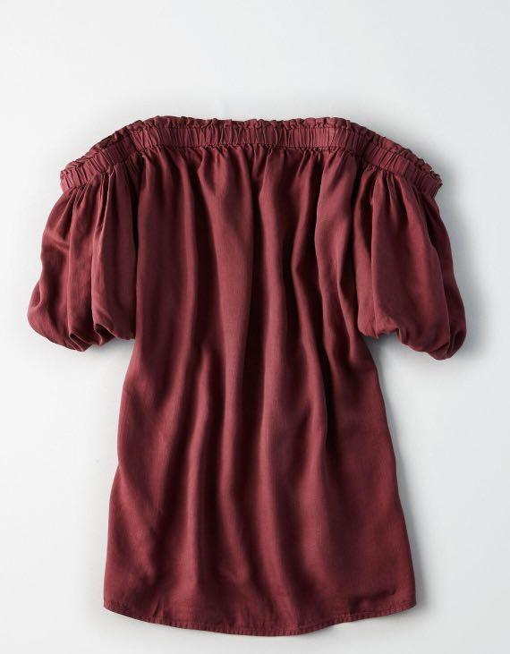American Eagle Outfitters Purple Bubble Sleeves Tube Dress