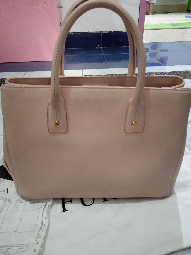 Authentic Preloved Furla Linda Tote Bag Pink Murah Fullset Complete Set