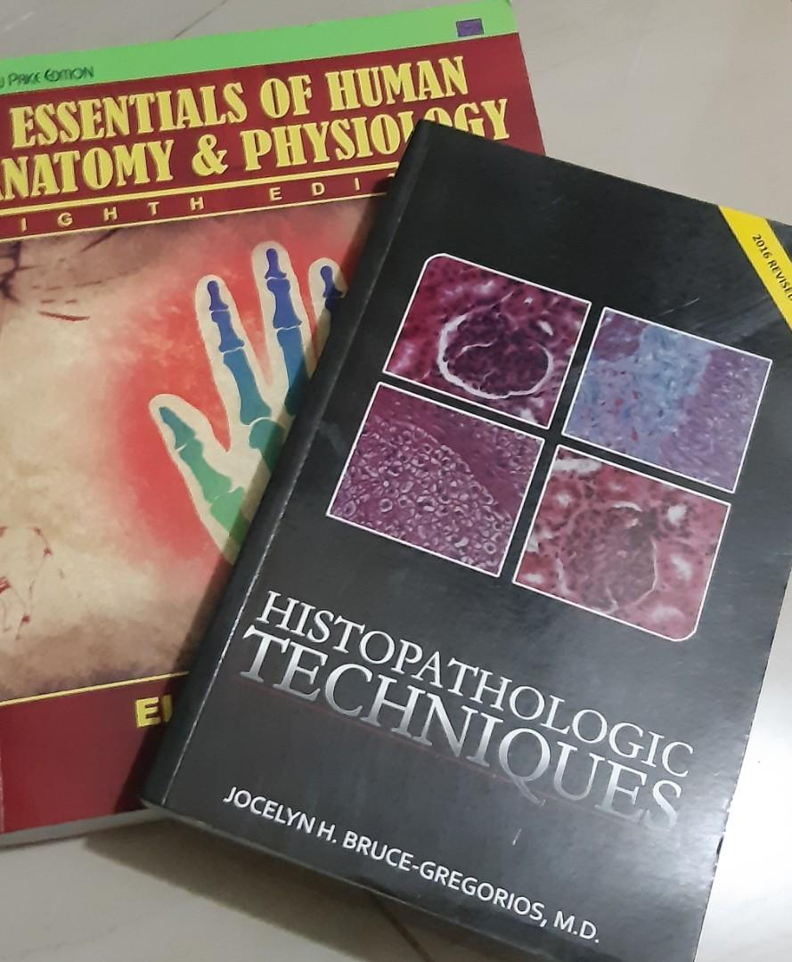 """ESSENTIALS OF HUMAN ANATOMY AND PHYSIOLOGY 8TH EDITION OF ELAINE N. MARIEB"""" and other books  that is in the photos."""