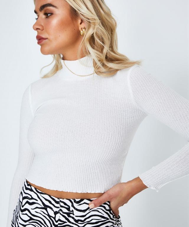 general pants white polo crop top long sleeve size xs
