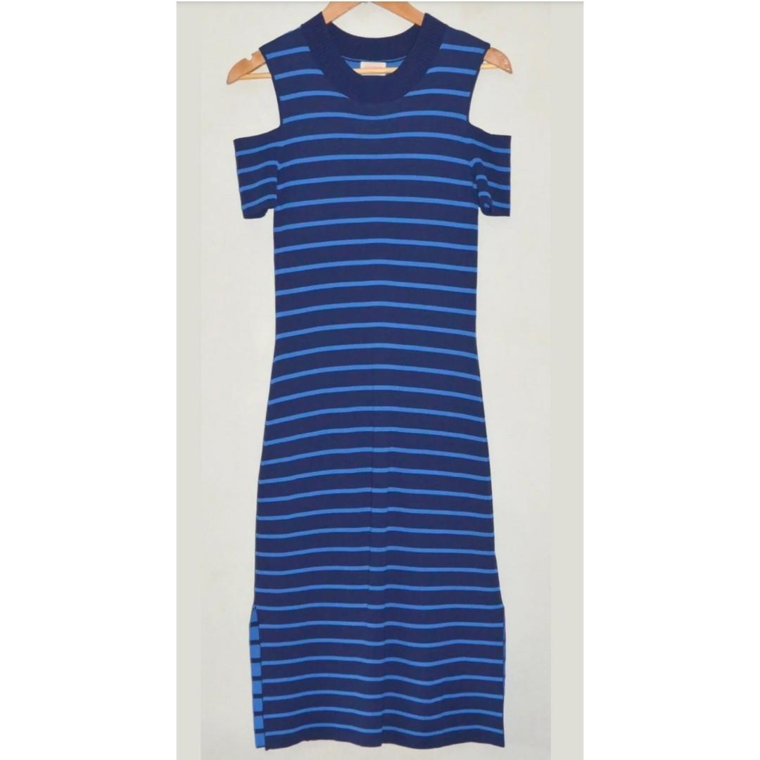 GORMAN LOLA BLUE STRIPE STRETCH KNIT CUT OUT SHOULDER DRESS *NEW* 8 10
