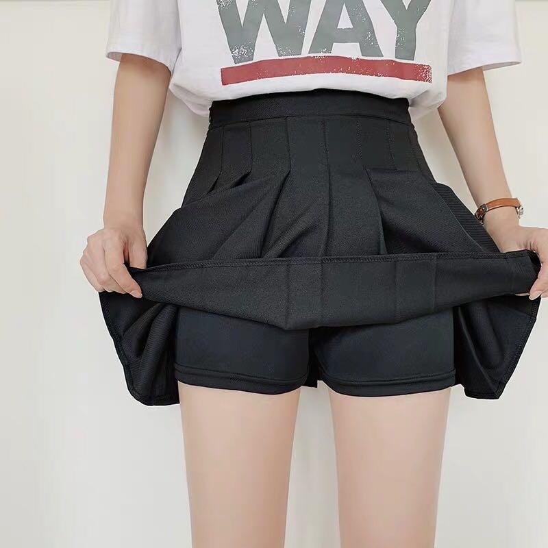 High-waist Black Tennis Skorts