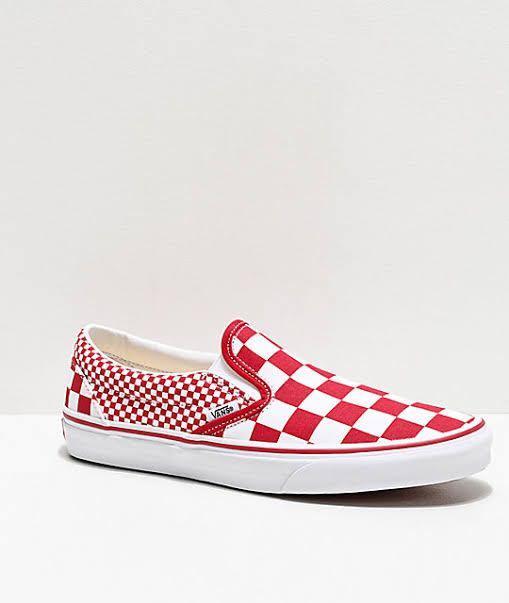 https:/Vans slip on chili red white mix checkerboard skate shoes