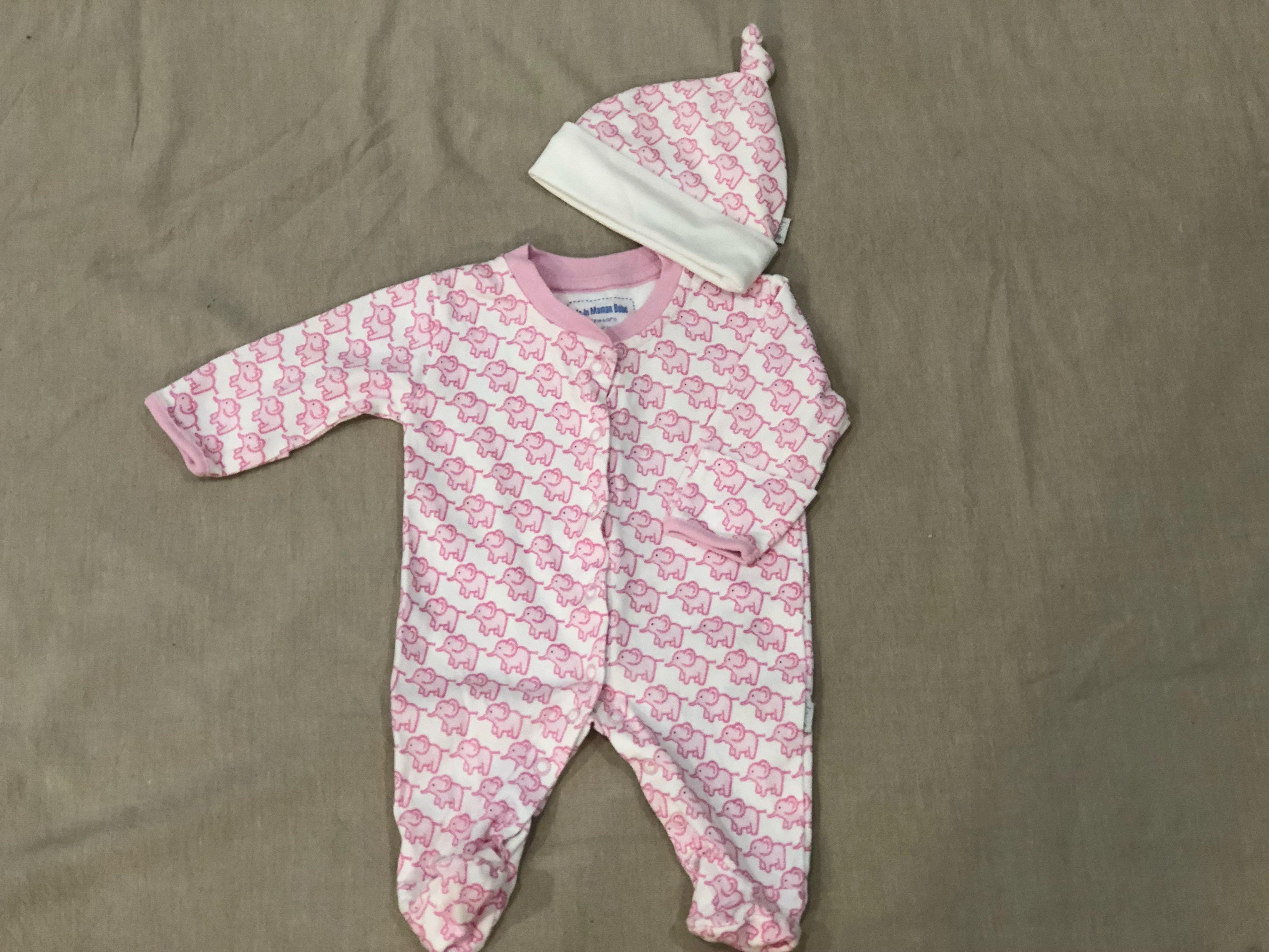 Jojo Maman Bébé | body suit and matching hat| newborn