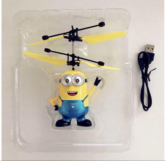 Kids toys Flying Minions Kids Toy Infrared Induction Aircraft LED Flash (Malaysia Ready Stock)