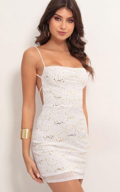 Lucy in the Sky Starstruck Shimmer Dress in Ivory Gold
