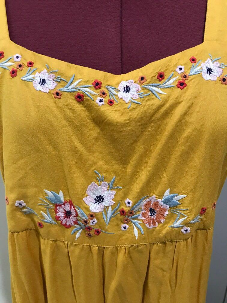 Mustard yellow floral embroidered dress for spring summer