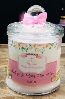Natural soy scented personalised candle favors (hand made)