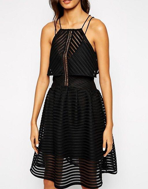 Self portrait imitation black mesh dress cropped overlay size small