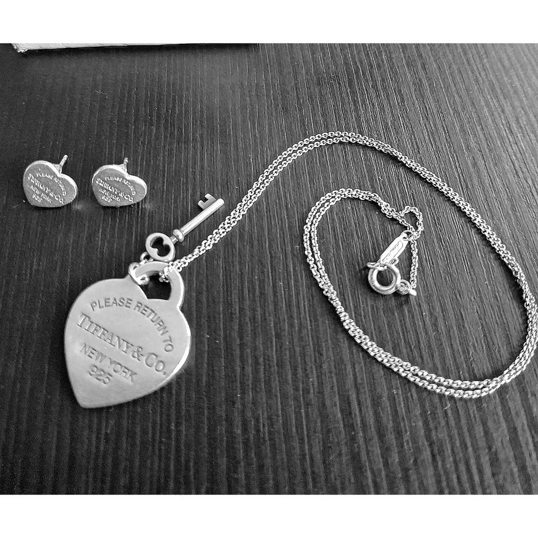 Tiffany & co. HeartTag Key Pendant Silver Necklace &Earrings SET