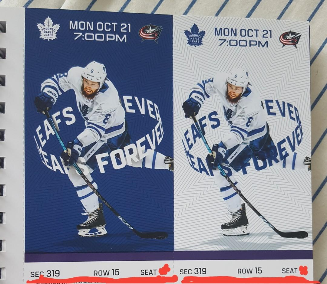 Toronto Maple Leafs vs Columbus Blue Jackets tickets - Mon Oct 21