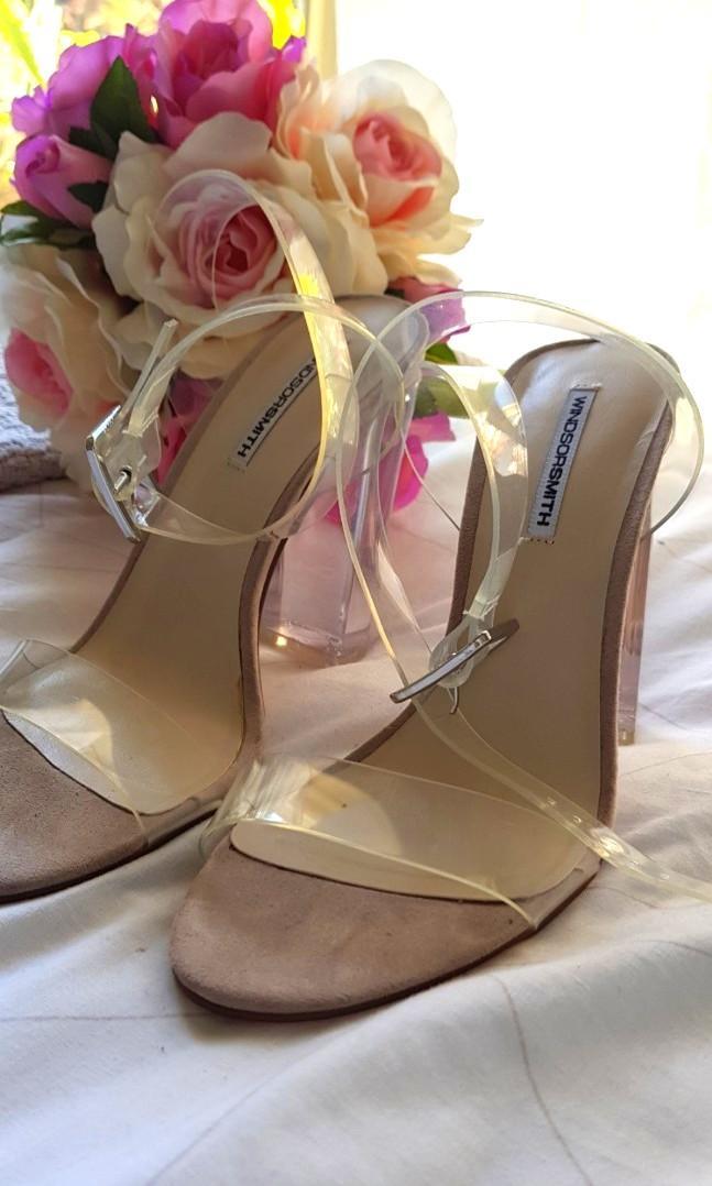 Windsor Smith clear gemma block heels size 7 brand new  kim Kardashian inspired