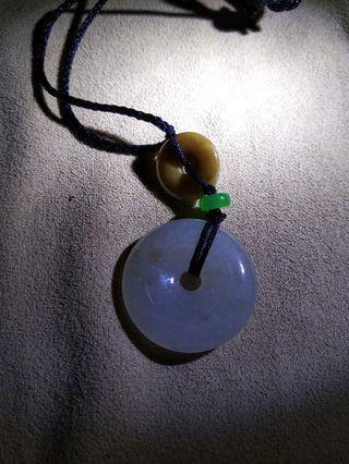 緬甸A貨翡翠,平安雙扣項鍊,黃白翡翠