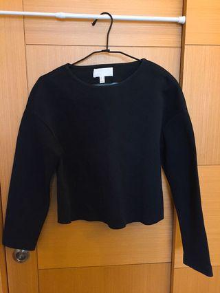 MANGO premium 太空棉剪裁黑色素面上衣