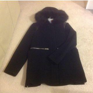 Maje fur hooded coat