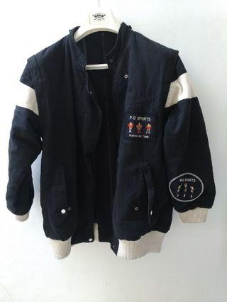 #VISITSINGAPORE Jaket trendy hitam 2 mode resleting depan belakang