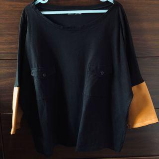 AGUILLA LEATHER SLEEVES BATWING TOP - Black & brown