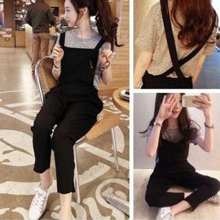 Ready Stock Fashion Women Jumpsuit Solid Color Long Pants