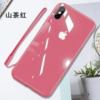 現貨鏡面iphonex液態升級手機殼山茶紅