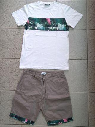 Zalora Foliage Printed Tshirt & Shorts
